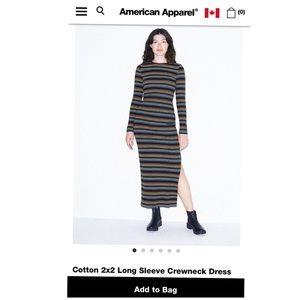American Apparel Cotton Long Sleeve Crewneck Dress